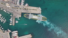 Aerial view of arriving ferry boat in the port - Mediterranean sea, Croatia Stock Footage