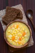 Yellow Split Pea and Vegetable Soup Stock Photos