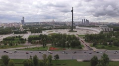Aerial city panorama of Moscow in poklonnaya gora area. Fast motion,car traffic. Stock Footage