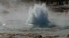 Strokkur geyser erupting, Iceland, slowmo Stock Footage