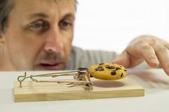Man Looking at Cookie In Rat Trap Stock Photos