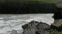 Gullfoss waterfall, tourists, Iceland, 4k Stock Footage