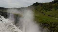 Tourists at the Gullfoss waterfall, Iceland, 4k Stock Footage