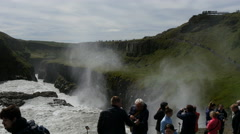 Gullfoss waterfall and tourists, Iceland, 4k Stock Footage