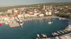 Flight over of cozy mediterranean city downtown - Croatia, Brac island Stock Footage