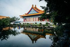 The National Concert Hall and pond at Taiwan Democracy Memorial Park, in Taip Stock Photos