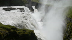 Gullfoss waterfall and crevice, Iceland, 4k Stock Footage