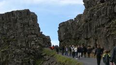 Tourists at Thingvellir rift, Iceland, 4k Stock Footage
