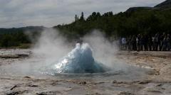 Strokkur geyser erupting, Iceland, 4k Stock Footage