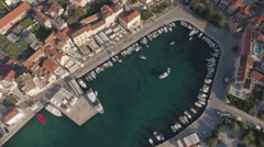 Aerial view of mediterranean city downtown - Croatia, Brac island Stock Footage