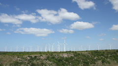 Wind turbines park producing renewable energy Stock Footage