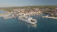 Aerial shot of mediterranean city coast, port - Croatia, Brac island Stock Footage