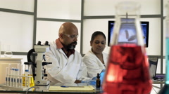 Two scientists in a lab going over some notes 4k Stock Footage