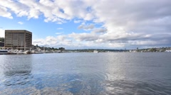 Time lapse Lake Union Park boats and seaplanes Stock Footage