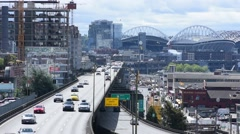 Historic Alaskan Way Viaduct in Seattle Stock Footage