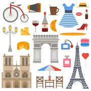 Paris icons vector set Piirros