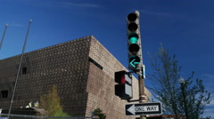 African American Museum traffic light green Stock Footage