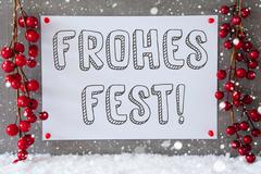 Label, Snowflakes, Decoration, Frohes Fest Means Merry Christmas Stock Photos