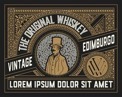 Whiskey label with old ornaments. Vector layered Stock Illustration