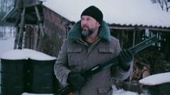 Close up brutal man with shotgun Stock Footage