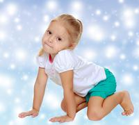 The girl is on all fours Stock Photos