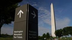 Washington Monument tour tickets pan Stock Footage
