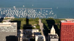 Aerial view of the city of Chicago with high rise buildings Stock Footage
