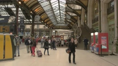 People at the railway station. Stock Footage