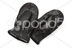 Leather mittens Stock Photos