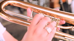 Musician plays trumpet in concert close up Arkistovideo