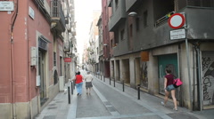 Barcelona Street - Carrer de Sant Marc Stock Footage