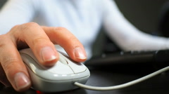 Soft focus to hand of the man clicking middle mouse button. Right hand Stock Footage