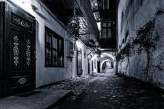 Cobblestone street passage in Sibiu Stock Photos