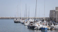 Giovinazzo boats pier Stock Footage