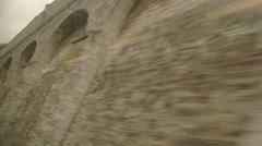 Wall behind window of train. Stock Footage