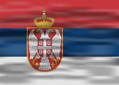 Realistic flag serbia Stock Illustration