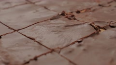 Choco cake glazed surface close-up cracks after baking 4K 2160p 30fps UltraHD Stock Footage