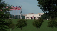 Lincoln Memorial flags tourists Stock Footage