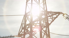DOF: Big steel construction generating electricity against sunny sky Stock Footage