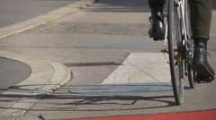 Separated bicycle lane in european street Stock Footage