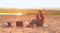 The girl speaks by phone Stock Footage