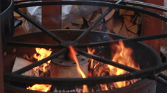 Timber Fire burning in the brazier. close-up Stock Footage