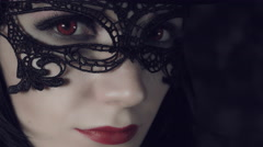 4k Halloween Shot of a Witch Looking at Camera, face close-up  Stock Footage
