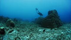 Freediver underwater Stock Footage