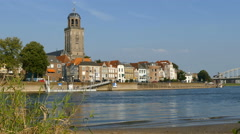 The IJssel river and the Saint Lebuinus Church in Deventer Stock Footage