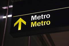 Metro sign underground Stock Photos