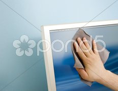 Cleaning a TFT screen Stock Photos