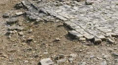 Ruins of medieval castle  stone-floor   stone and plaste slow-tilt 4K 2160p 3 Stock Footage