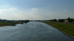 View from bridge over the IJssel river in Deventer Stock Footage