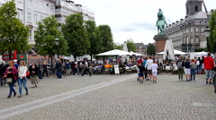 Walking towards the market place Stock Footage
